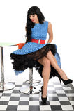 Сексуальная привлекательная молодая классическая винтажная модель представляя в 50's вводит голубое и белое платье в моду точки п Стоковые Изображения RF
