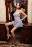Сексуальное брюнет представляя рядом с зеркалом стоковые фотографии rf
