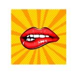 Сексуальные женские губы Подпишите для печати, в комиксах, мода, искусство шипучки, ретро стиль 80 s 90s также вектор иллюстрации Стоковые Изображения RF