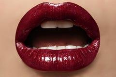 Сексуальные женские губы с совершенным составом Стоковые Изображения RF