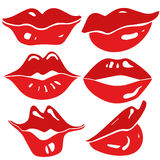 Сексуальные женские установленные губы - вектор Стоковое Изображение RF