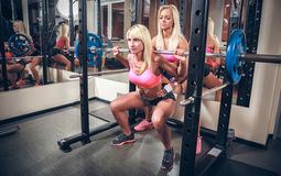 Сексуальные женщины в спортзале делая сидение на корточках с штангой Стоковое Изображение RF