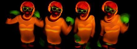 Сексуальный неоновый ультрафиолетовый танцор зарева Стоковое Изображение RF