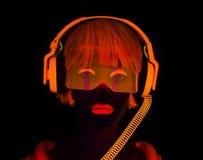 Сексуальный неоновый ультрафиолетовый танцор зарева Стоковые Изображения RF