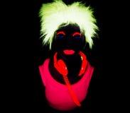 Сексуальный неоновый ультрафиолетовый танцор зарева Стоковые Фото