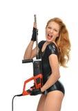 Сексуальный работник подрядчика женщины с perforatorw сверла конструкции Стоковые Фото
