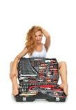 Сексуальный работник contructor молодой женщины сидя с se конструкции Стоковые Фотографии RF