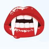 Сексуальный рот вампира Стоковое Изображение