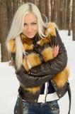 Сексуальный холод девушки в лесе Стоковое Фото