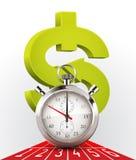 Секундомер - деньги и время иллюстрация штока