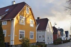 Селитебная улица в Норвегии Стоковая Фотография