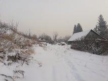 Село в зиме стоковая фотография rf