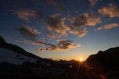 село захода солнца горы alps Стоковые Изображения RF