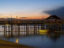 село захода солнца рыболовства Стоковая Фотография RF