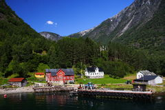 село Норвегии фьорда Стоковое Фото