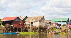 село ходулочников рыболовства Камбоджи Стоковое фото RF