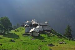 Село Alpenzu высокогорное, Gressoney, долина Aosta Стоковое фото RF