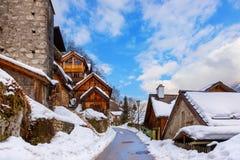 Село Hallstatt на озере - Зальцбурге Австрии Стоковая Фотография