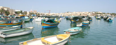 село marsaxlokk malta рыболовства Стоковые Изображения