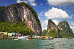 Село Panyee Koh на заливе Phang Nga Стоковое Изображение