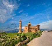 село ta pinu malta gozo gharb церков Стоковые Изображения