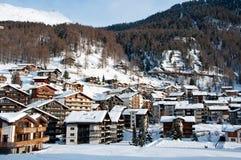 Село Zermatt в зиме Стоковое Изображение