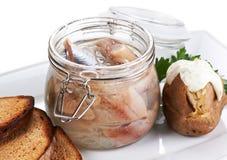 сельди выкружки стеклянные jar соль Стоковая Фотография RF