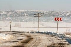 Сельская дорога зимы. Стоковая Фотография