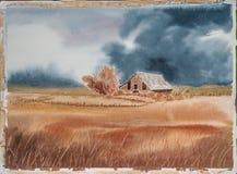 Сельская сцена - первоначально картина акварели амбара и Wheatfield Стоковое фото RF