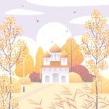 Сельская сцена с деревьями церков и осени Стоковое Фото