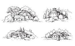 Сельская сцена с домами и эскизом деревьев иллюстрация штока