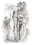 Сельская церковь на горе или скале деревенский монастырь выгравированная рука нарисованная в старом эскизе и винтажном стиле для  Стоковые Изображения RF