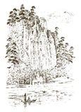 Сельская церковь на горе или скале деревенский монастырь выгравированная рука нарисованная в старом эскизе и винтажном стиле для  Стоковое фото RF