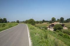 Сельский ландшафт вдоль пути цикла Po Стоковая Фотография
