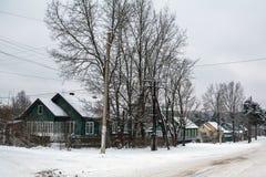 Сельский ландшафт зимы в республике Karelia Стоковая Фотография