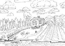 Сельский ландшафт с лесом и небольшим домом стоковое фото rf