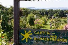 сельский сад коттеджа в горячем летнем дне garte в июле и письмах Стоковые Изображения