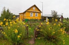 Сельское место с деревянным домом Стоковые Фото