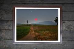 Сельскохозяйственное угодье на изображении холма Стоковые Фото