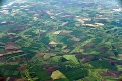 Сельскохозяйственные угодья от большей высоты в территории Краснодар России стоковые фотографии rf