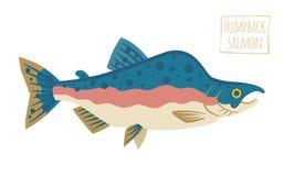 Семги горба, иллюстрация шаржа вектора Стоковое Изображение
