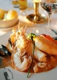 семги омара тарелки Стоковое Фото