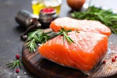 Семги семги рыб свежие Сырцовое salmon филе рыб Стоковое Изображение RF
