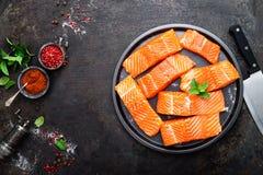 Семги семги рыб свежие Сырцовое salmon филе рыб Стоковые Изображения