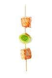 Семги, shish kebab от семги, лук-порея Стоковые Фото