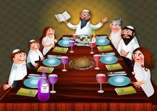 Семейная трапеза еврейской пасхи бесплатная иллюстрация
