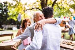 Семейное торжество или приём гостей в саду снаружи в задворк Стоковые Фотографии RF