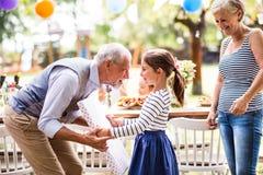 Семейное торжество или приём гостей в саду снаружи в задворк Стоковое Фото