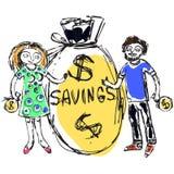 Семейный бюджет подобный иллюстрация вектора