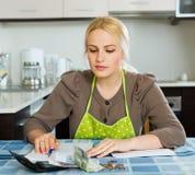 Семейный бюджет белокурой женщины расчетливый Стоковые Фотографии RF